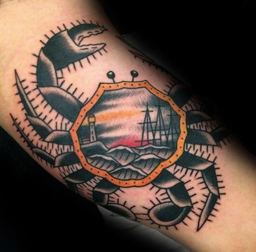 Cool Sinking Ship Crab Themed Inner Arm Bicep Tattoo Design Ideas For Male