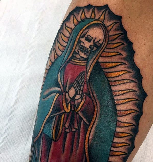 Cool Skeleton Guadalupe Tattoo Design Ideas For Males On Arm