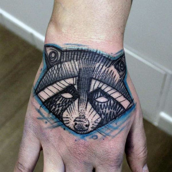 Cool Sketched Raccoon Male Hand Tattoos