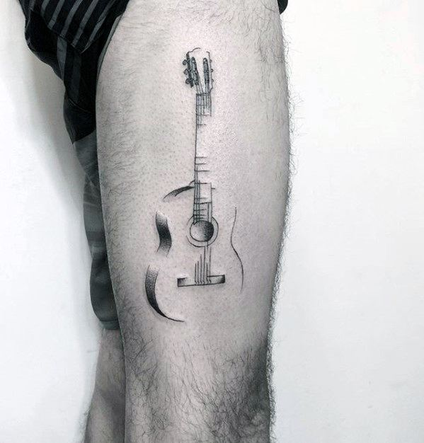Cool Sketched Simple Music Guitar Thigh Tattoos For Men