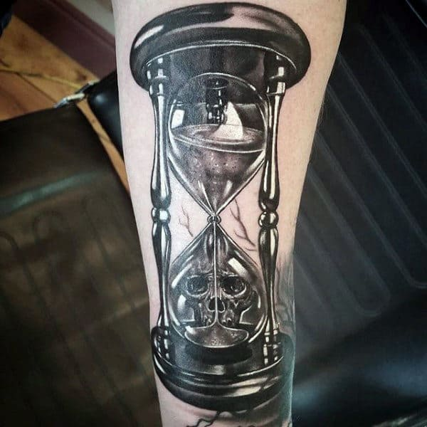 Cool Skull And Hourglass 3d Mens Tattoos