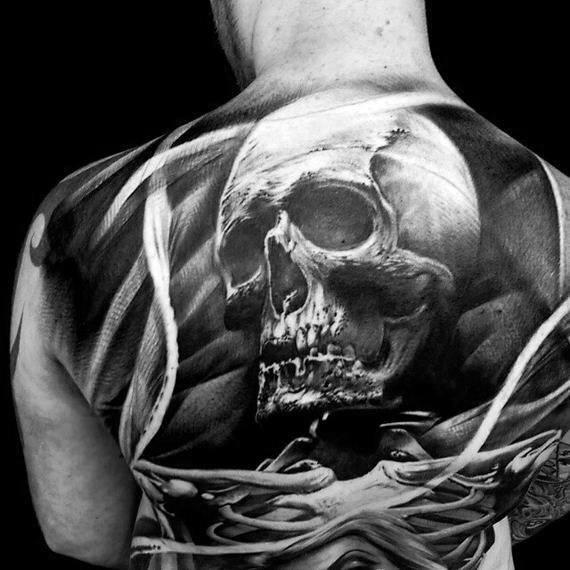Cool Skull Back Hyper Realistic 3d Tattoo Design Ideas For Male