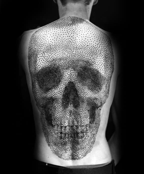 Cool Skull Dotwork Mens Full Back 3d Tattoo