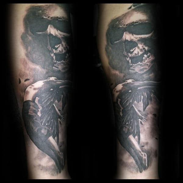 Cool Skull Icarus Guys Forearm Tattoos