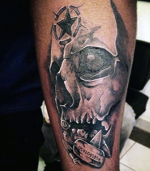 Cool Skull Military Tattoos For Men
