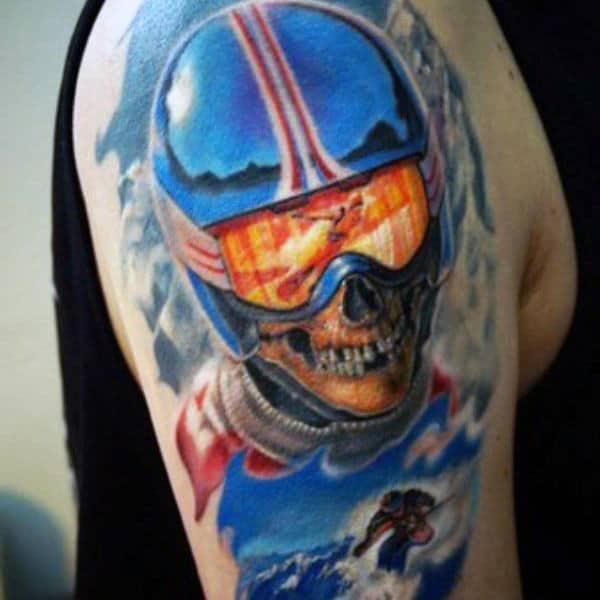 Cool Skull Skiing Tattoos For Guys