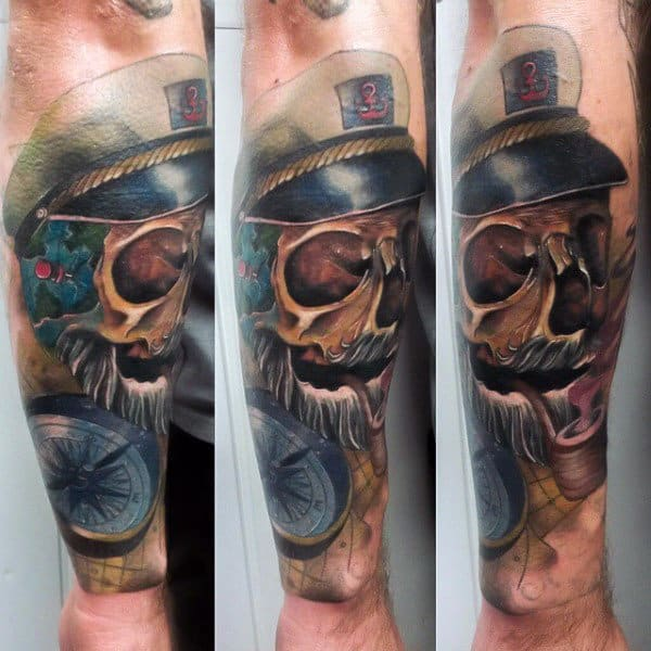 Cool Skull With Police Hat Manly Tattoo Male Forearms