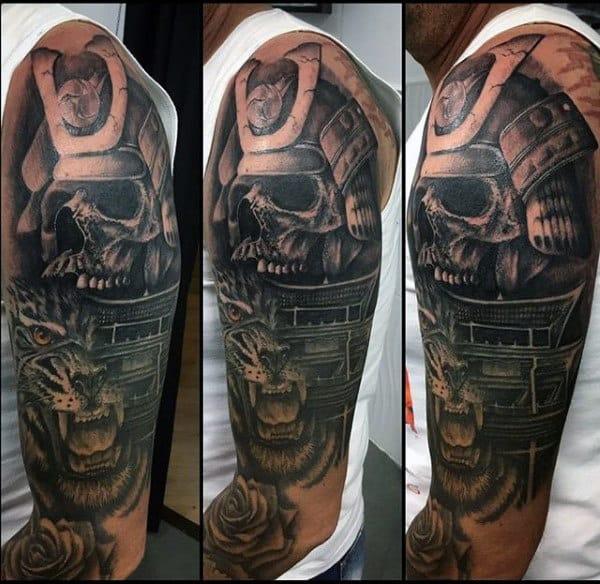 Cool Skull With Tower Samurai Helmet Mens Half Sleeve Tattoos