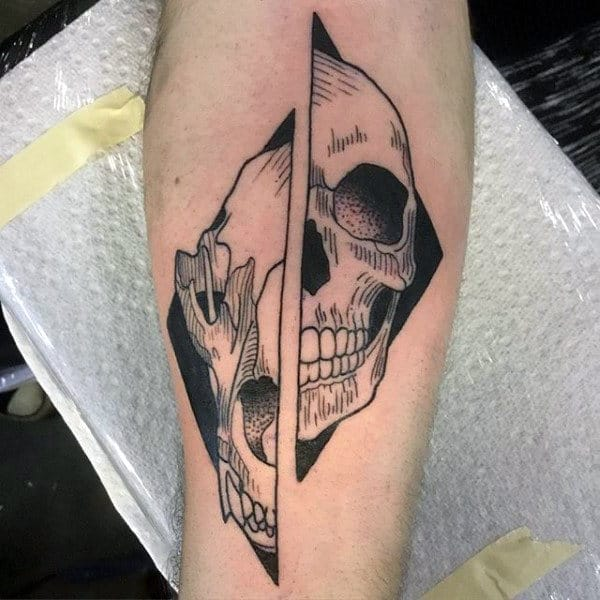 Cool Skulls Mens Wolf Inner Forearm Tattoo
