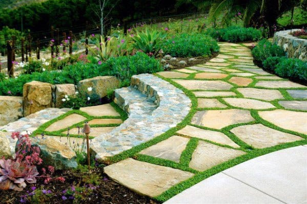 Cool Slope Landscaping Flagstaff Rock Patio Ideas With Steps