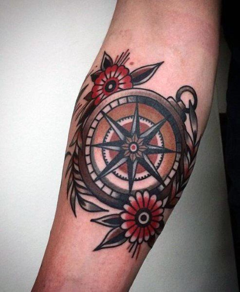 Cool Small Compass Old School Traditional Tattoos For Men On Inner Forearm