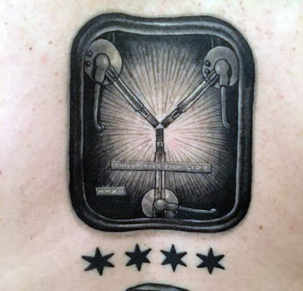 Cool Small Detailed Back To The Future Guys Back Tattoos