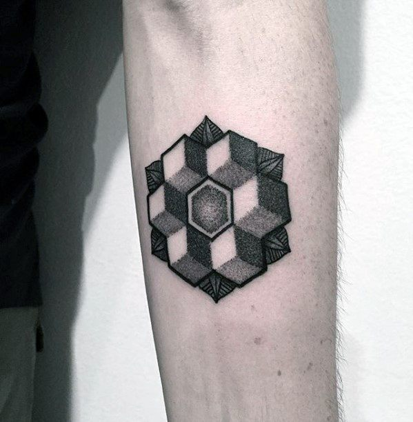 Cool Small Geometric Shapes Dotwork Mens Detailed Inner Forearm Tattoo
