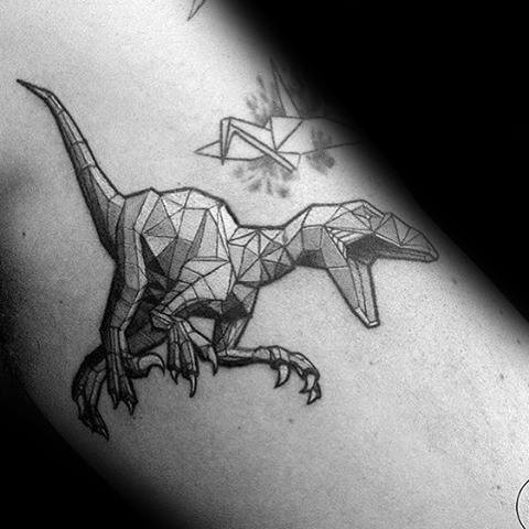 Cool Small Geometric Velociraptor Dinosaur Mens Arm Tattos With Shaded Design