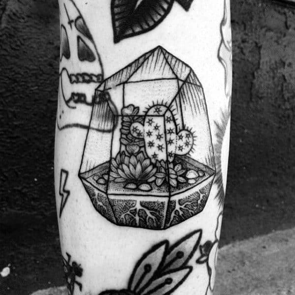 Cool Small Glass Encased Cactus Plant Black Ink Shaded Tattoo