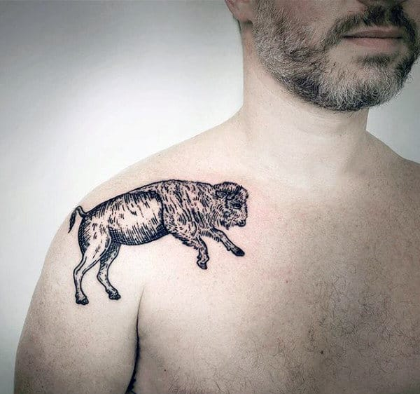 Cool Small Mens Shoulder Bison Tattoo Ideas