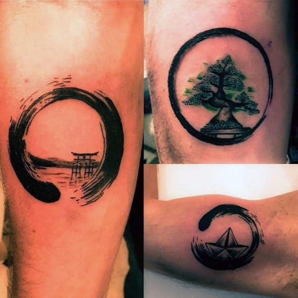 60 enso tattoo designs for men zen japanese ink ideas for Small japanese tattoos