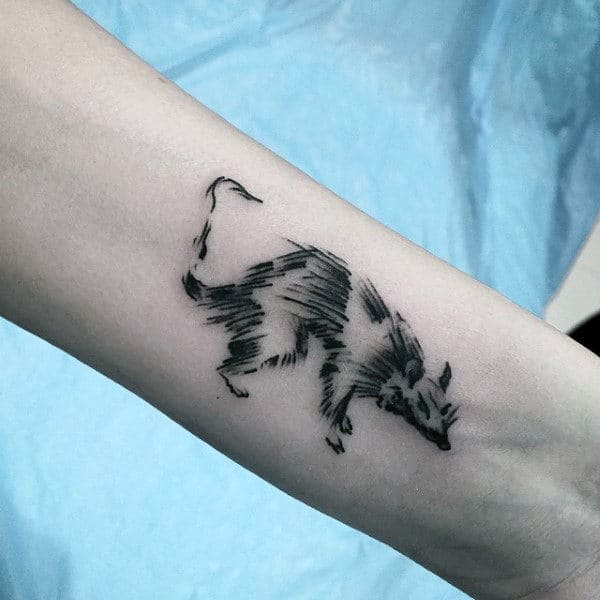 Cool Small Simple Mens Sketched Rat Wrist Tattoos
