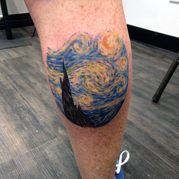 Cool Small Starry Night Leg Calf Tattoos For Guys