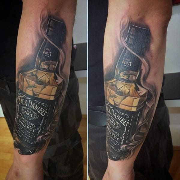 Cool Smoking Jack Daniels Mens Outer Forearm Tattoo