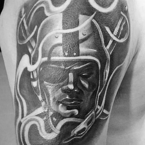 Cool Smoking Oakland Raiders Mens Shaded Quarter Sleeve Tattoo