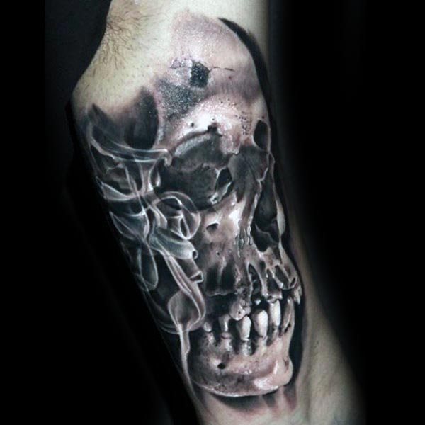Cool Smoking Skull Guys Arm Tattoo