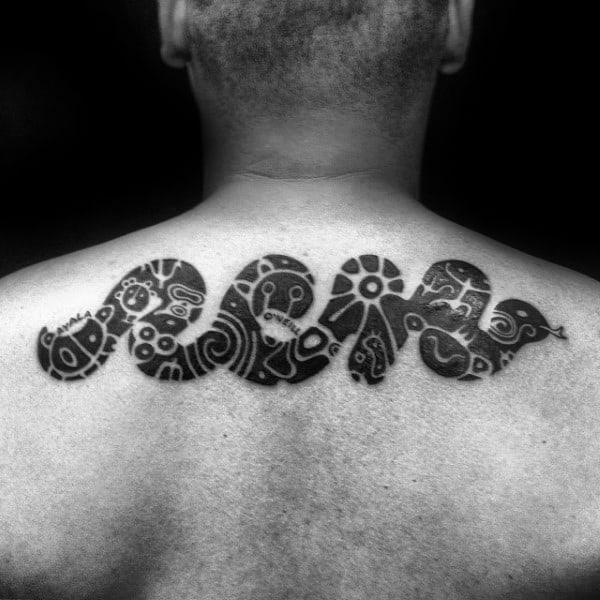 Cool Snake With Taino Symbols Mens Upper Back Tattoo Ideas