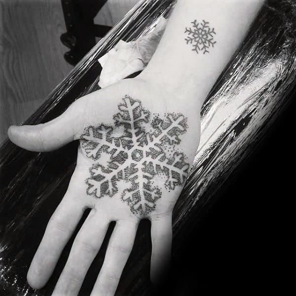 Cool Snowflake Palm Tattoos For Men