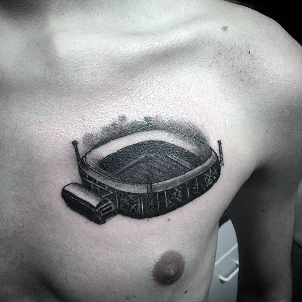 Cool Soccer Stadium Mens Upper Chest Tattoo