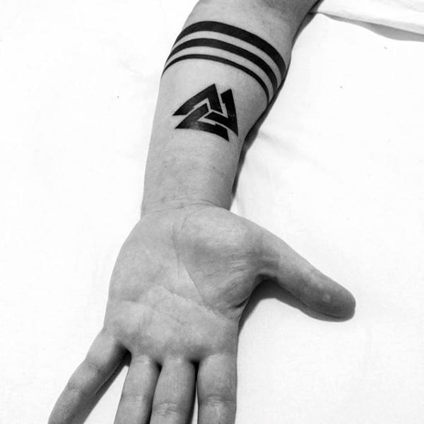 Cool Solid Back Ink Valknut Tattos For Men On Inner Forearms