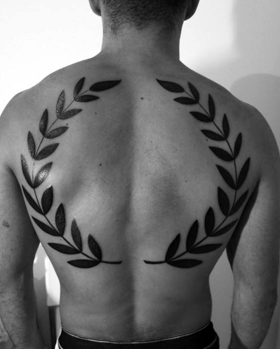 Cool Solid Black Ink Laurel Wreath Tattoo Design Ideas For Males On Back