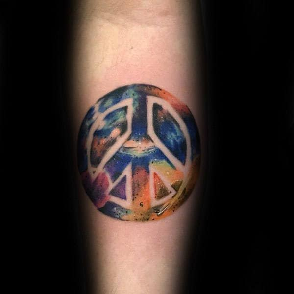 Cool Space Peace Sign Watercolor Guys Inner Forearm Tattoo Design Ideas
