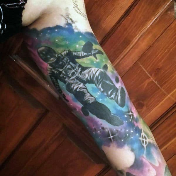Cool Spaceman In Universe Tattoo Mens Full Arms