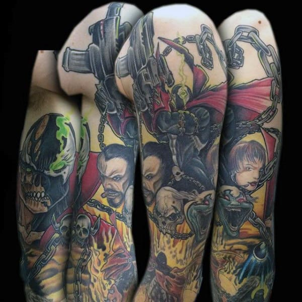 Cool Spawn Themed Tattoo Sleeve On Man