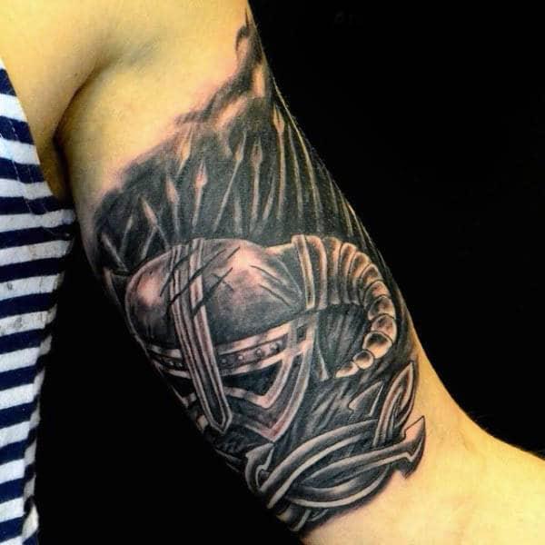 Cool Spears Mens Quarter Sleeve Tattoo