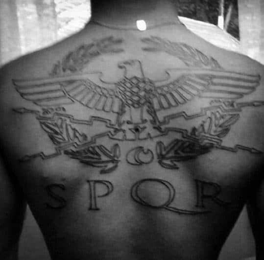 Cool Spqr Male Black Ink Back Tattoo Ideas