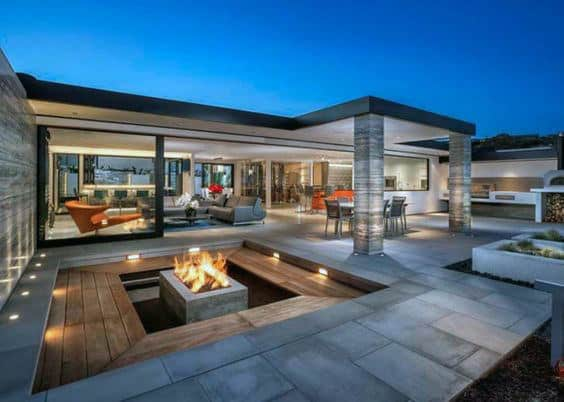 Cool Square Outdoor Fire Pit On Modern Home