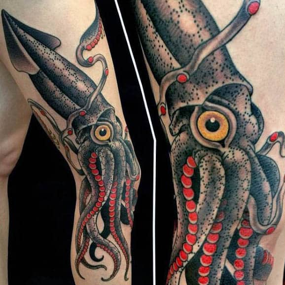 Cool Squid Tattoos For Males Grey With Red Tentacles