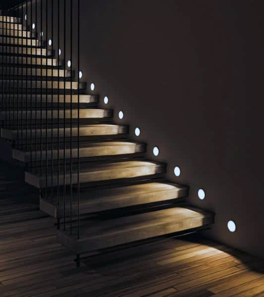 Cool Staircase Lighting Design Ideas Small Circle Leds