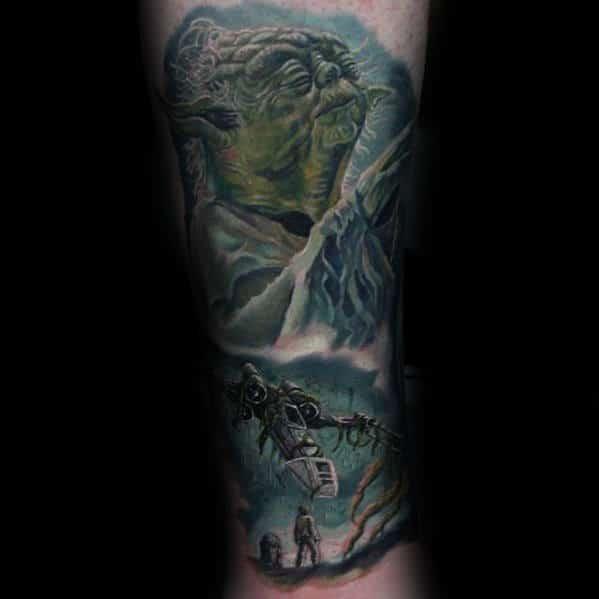 Cool Star Wars Movie Themed Guys Yoda Leg Sleeve Tattoo Design Ideas