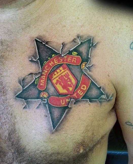 Cool Stone 3d Star Upper Chest Manchester United Tattoo Design Ideas For Male