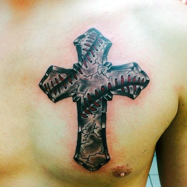 Cool Stone Baseball Cross Male Tattoo On Upper Chest