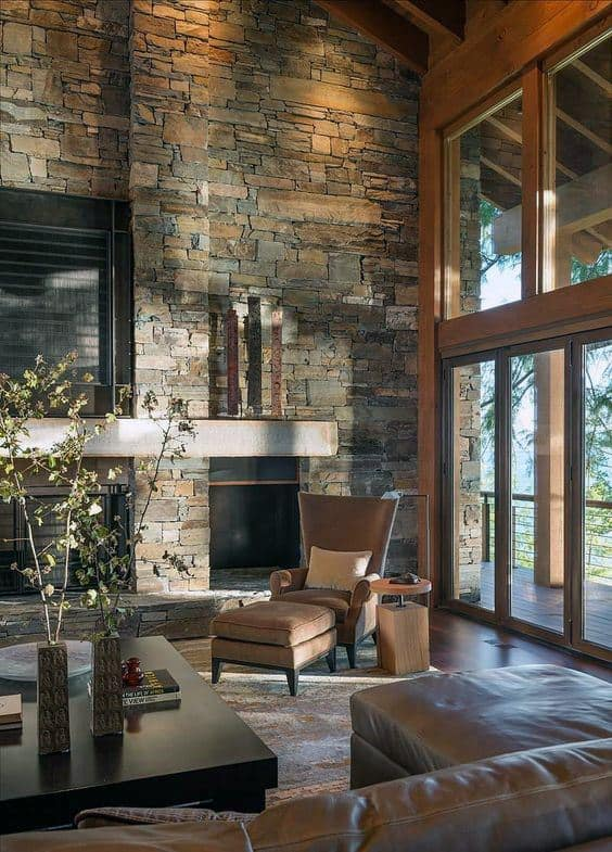 Cool Stone Fireplace Design Living Room Ideas