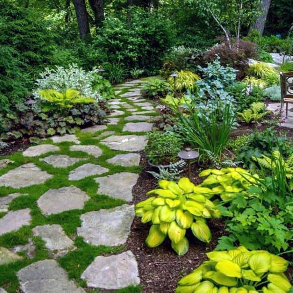 Cool Stone Walkway Traditional Backyard Garden Lanscaping