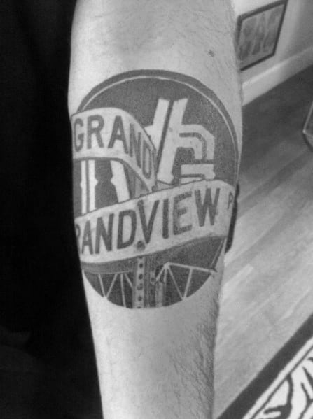 Cool Street Sign Tattoos For Men