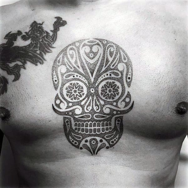 Cool Sugar Skull Tattoo Designs For Men On Chest