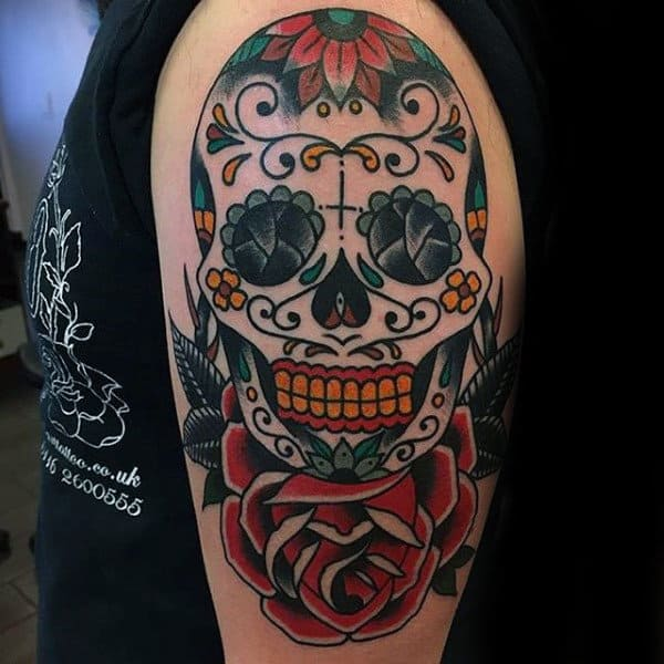 Cool Sugar Skull Tattoos For Guys On Upper Arm With Red Rose Flower