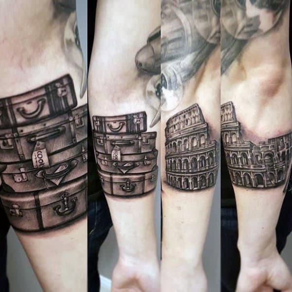 Cool Suitcase Travel Tattoo Ideas For Men Quarter Sleeve Design