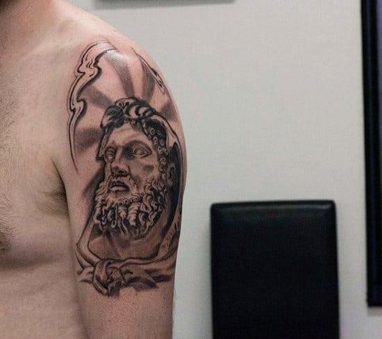 Cool Sun Rays Hercules Mens Quarter Sleeve Tattoos