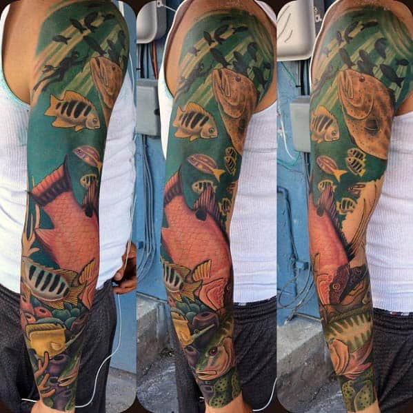 Cool Swimming Fish Ocean Male Sleeve Tattoo Designs